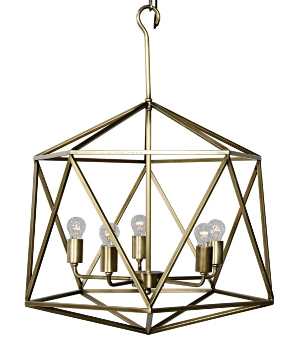 Alden Pendant, Metal with Brass Finish