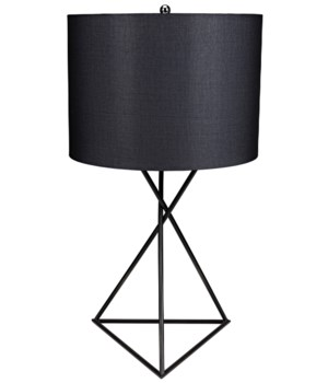 Triangle Table Lamp with Shade, Black Metal