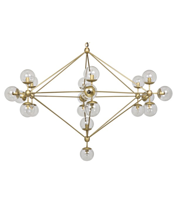 Pluto Chandelier, Large, Metal with Brass Finish and Glass