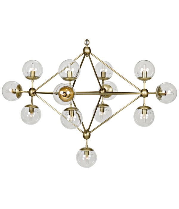 Pluto Chandelier, Small, Metal with Brass Finish and Glass