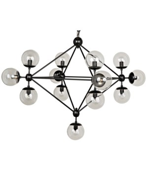Pluto Chandelier, Black Metal, Small