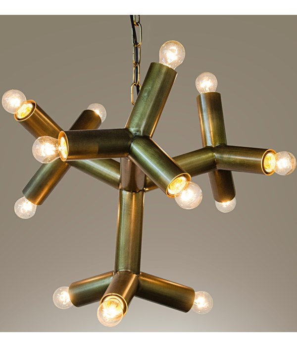 Snow Flake Chandelier, Metal with Brass Finish