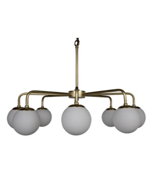 Larenta Chandelier, Antique Brass, Metal and Glass