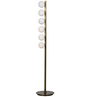 Straight Floor Lamp, Antique Brass, Metal and Glass