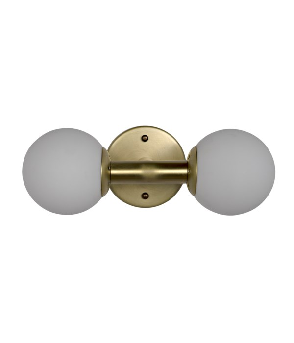 Antiope Sconce, Antique Brass and Glass