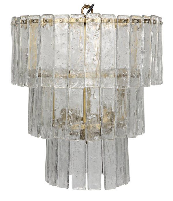 Bruna Chandelier, Small, Metal with Brass Finish