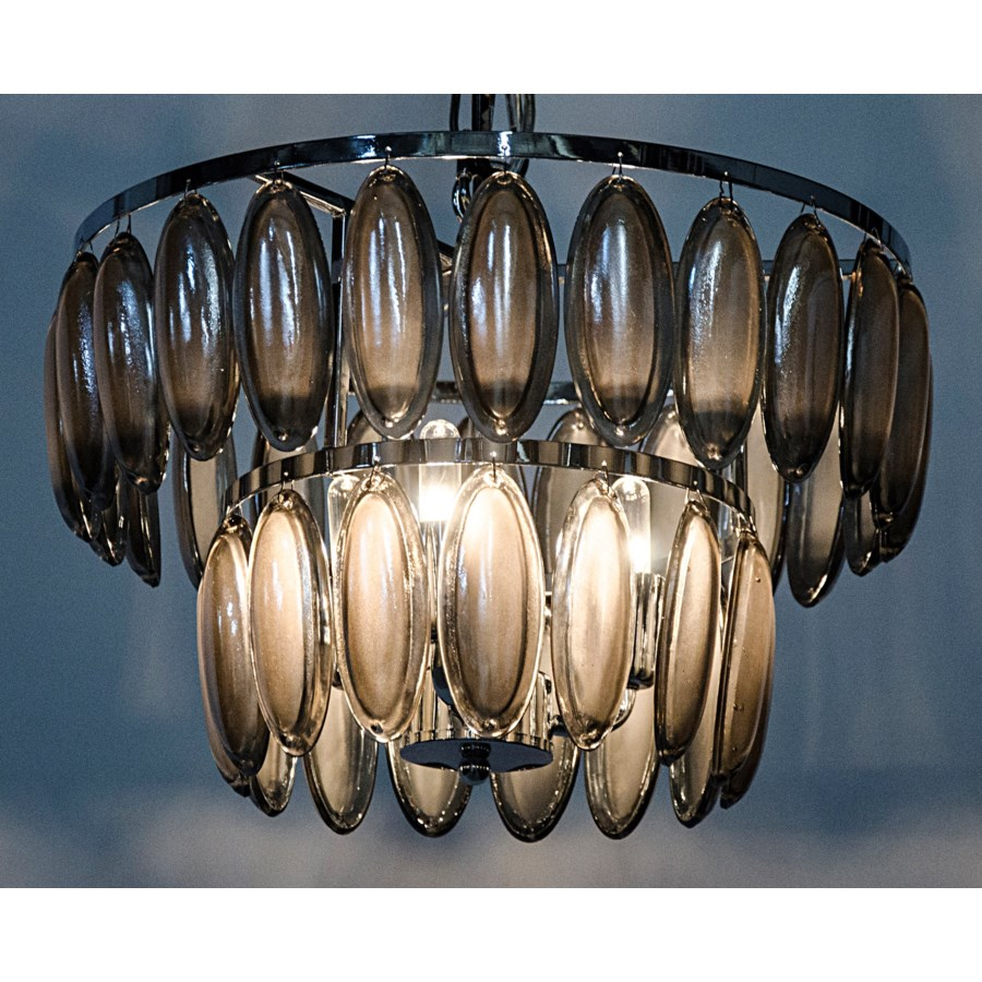 Lolita Chandelier, Small, Chrome Finish, Metal and Glass