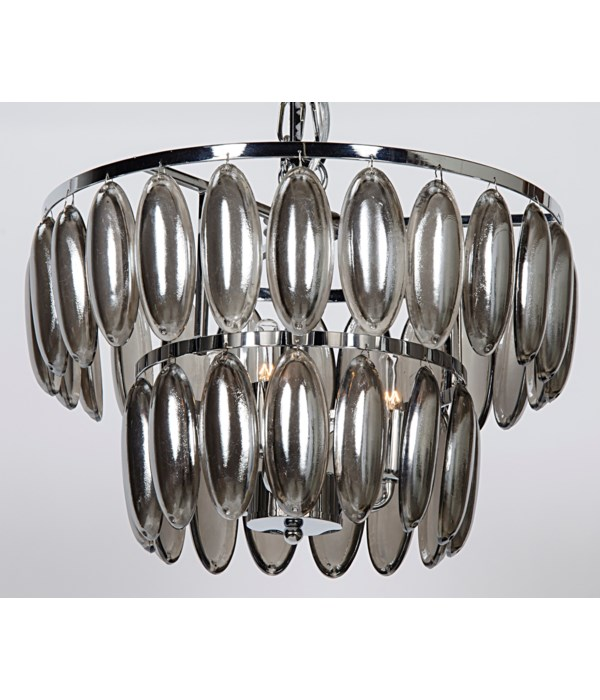 Lolita Chandelier, Small, Chrome Finish and Glass