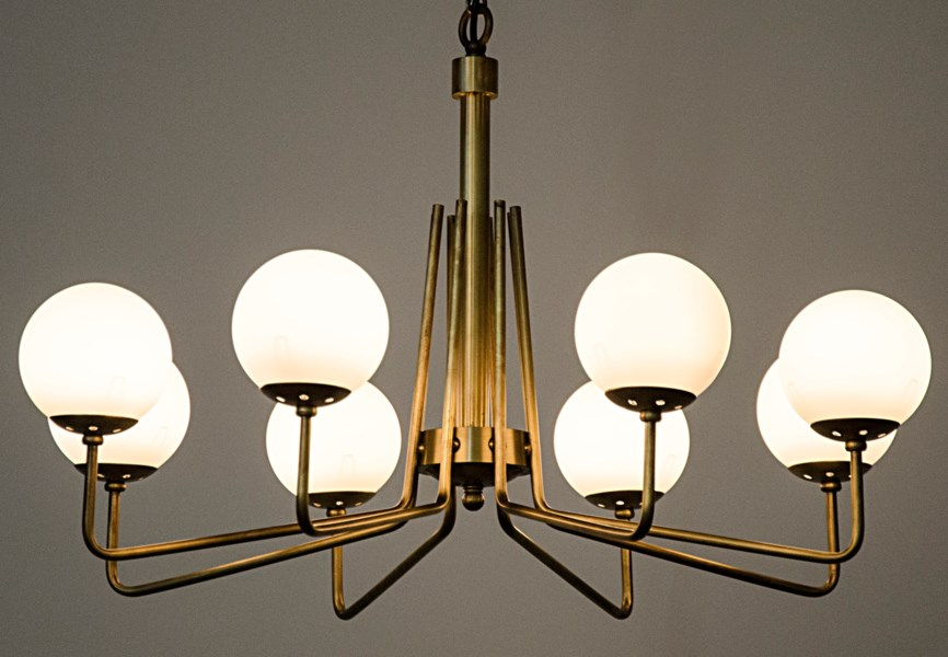 Ray Chandelier, Antique Brass, Metal and Glass