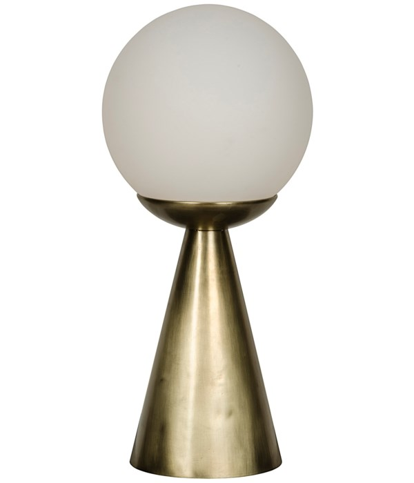 Merle Table Lamp, Antique Brass and Glass