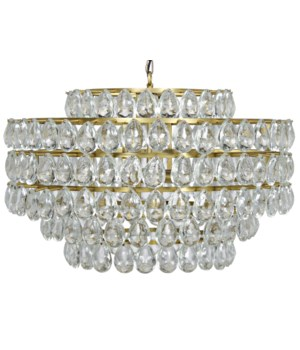 Linden Chandelier, Antique Brass, Metal and Crystal