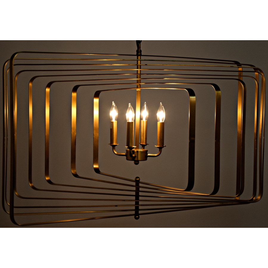 Dimaclema Chandelier, Large, Antique Brass