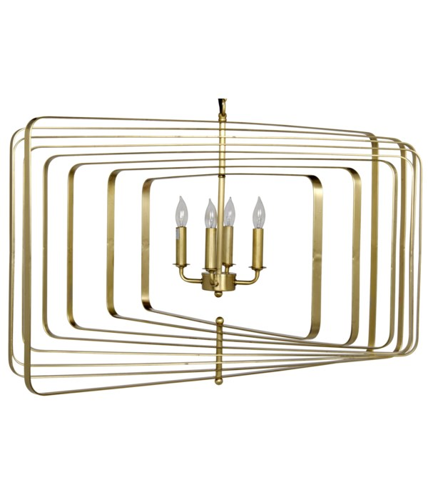 Dimaclema Chandelier, Large, Metal with Brass Finish