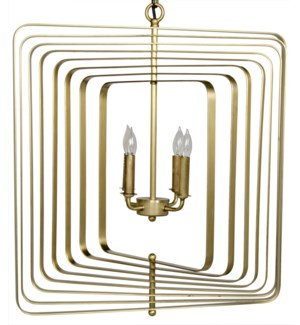 Demaclema Chandelier, Small, Metal with Brass Finish