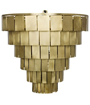 Shield Chandelier, Antique Brass