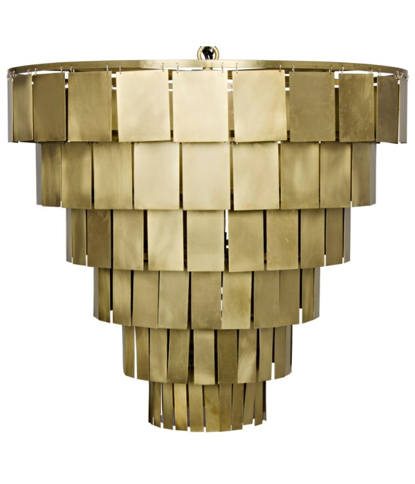 Shield Chandelier, Metal with Brass Finish