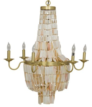 Bijou Chandelier, Antique Brass, Metal and Shells
