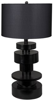 Wilton Table Lamp, Black Metal with Shade
