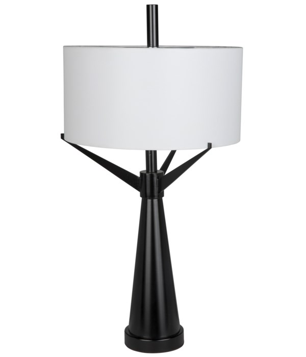 Altman Table Lamp with Shade, Black Steel