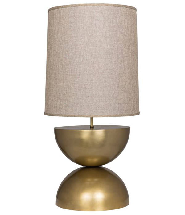 Pulan Table Lamp, Metal with Brass Finish