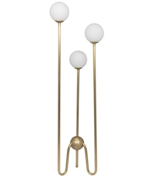 Seafield Floor Lamp, Antique Brass, Metal and Glass