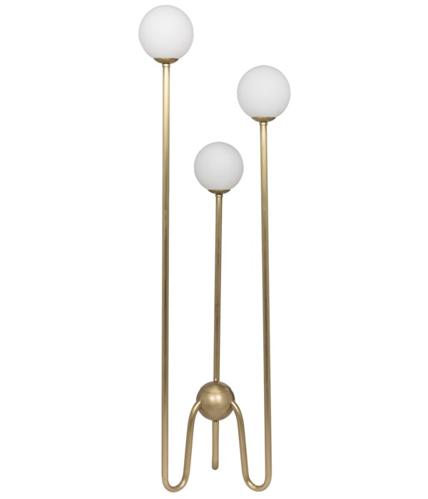 Seafield Floor Lamp, Antique Brass and Glass