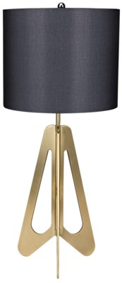 Candis Lamp with White Shade, Antique Brass