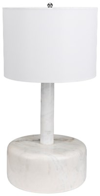 White Marble Cylinder Lamp with Black Shade