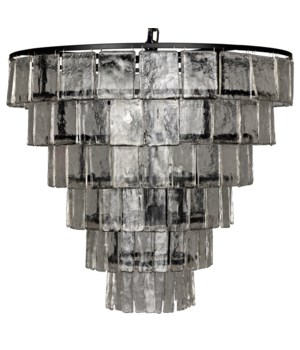 Carnegie Chandelier, Black Metal, Large