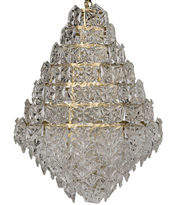 Neive Chandelier, Large, Metal with Brass Finish