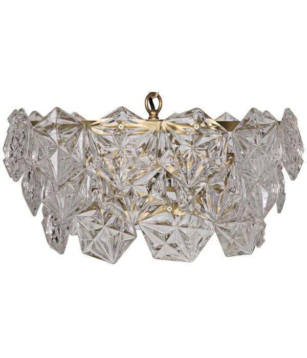 Neive Chandelier, Small, Metal with Brass Finish