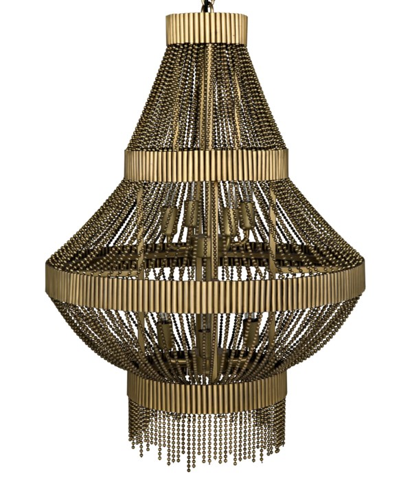 Domo Chandelier, Steel and Metal Beads with Brass Finish