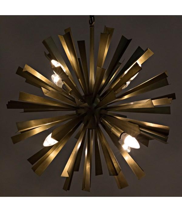 Bero Chandelier, Metal with Brass Finish