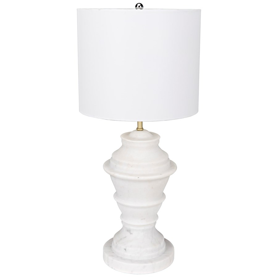 Lorelei Table Lamp with White Shade, White Marble