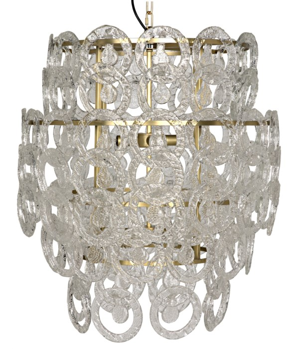 Quebec Chandelier, Metal with Brass Finish