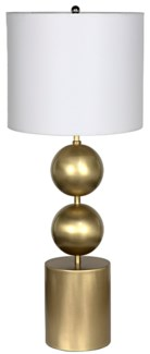 Tulum Table Lamp with Shade, Antique Brass