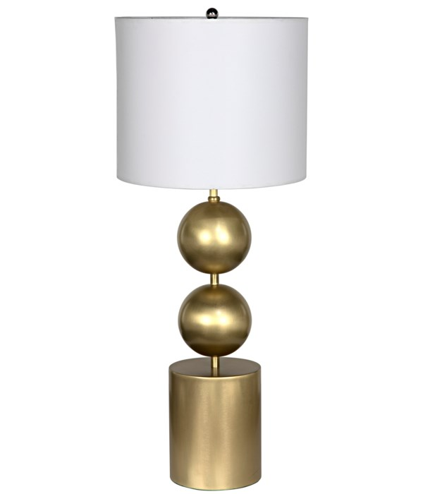 Tulum Table Lamp with Shade, Metal with Brass Finish