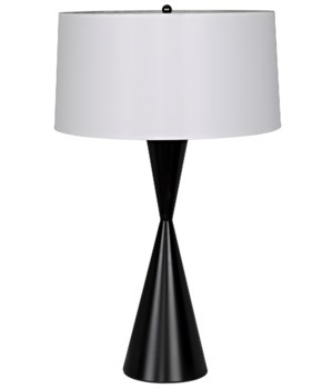 Noble Table Lamp with Shade, Black Metal