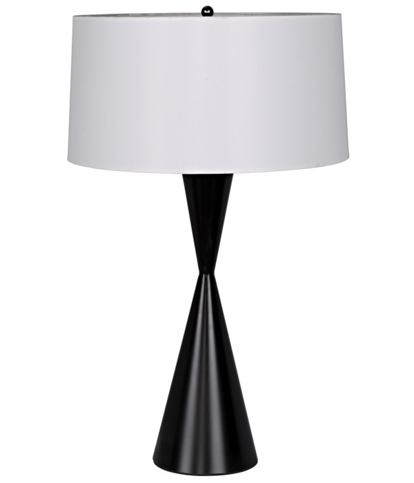 Noble Table Lamp with Shade, Black Steel