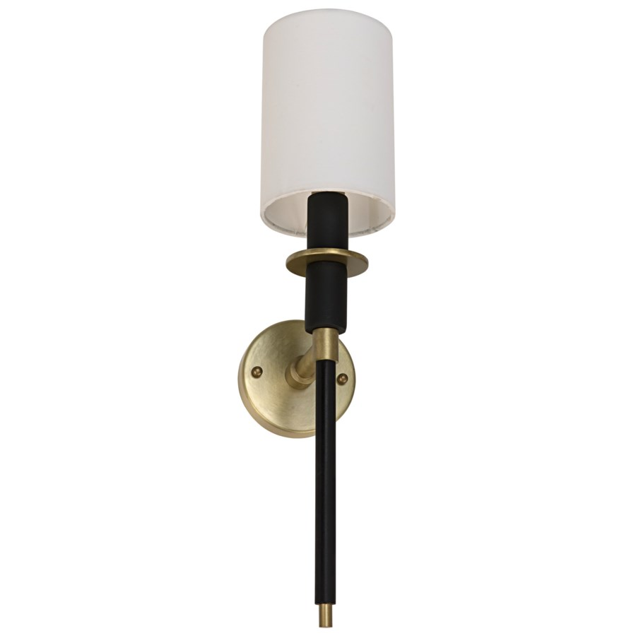 Lenox Sconce, Black Metal and Brass Finish