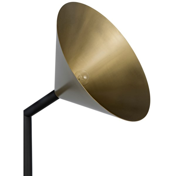 Strato Floor Lamp, Black Metal and Brass Finish