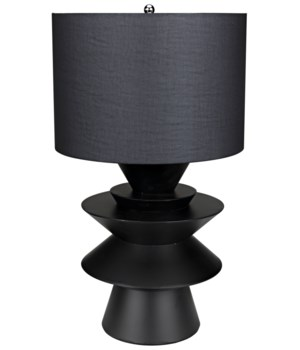 Viola Table Lamp w/Shade, Black Metal