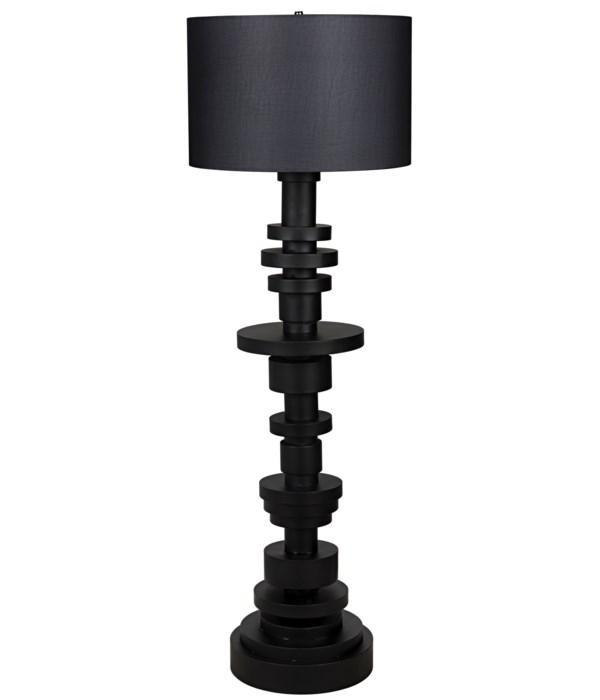 Wilton Floor Lamp with Shade, Black Steel