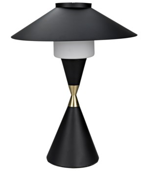 Lucia Table Lamp, Black Metal w/MB Detail