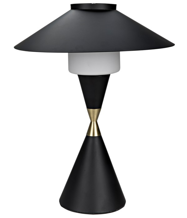 Lucia Table Lamp, Black Steel with Mb Detail