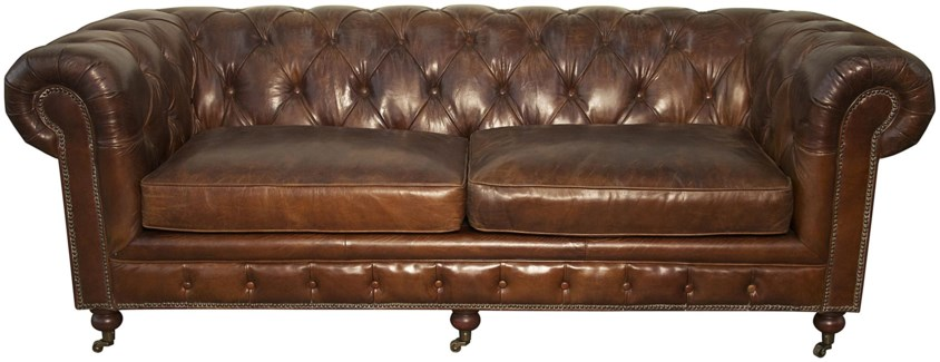 3-Seater Tufted Sofa, V. Leather
