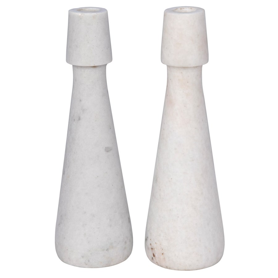 Mitros Decorative Candle Holder, Set of 2, White Marble