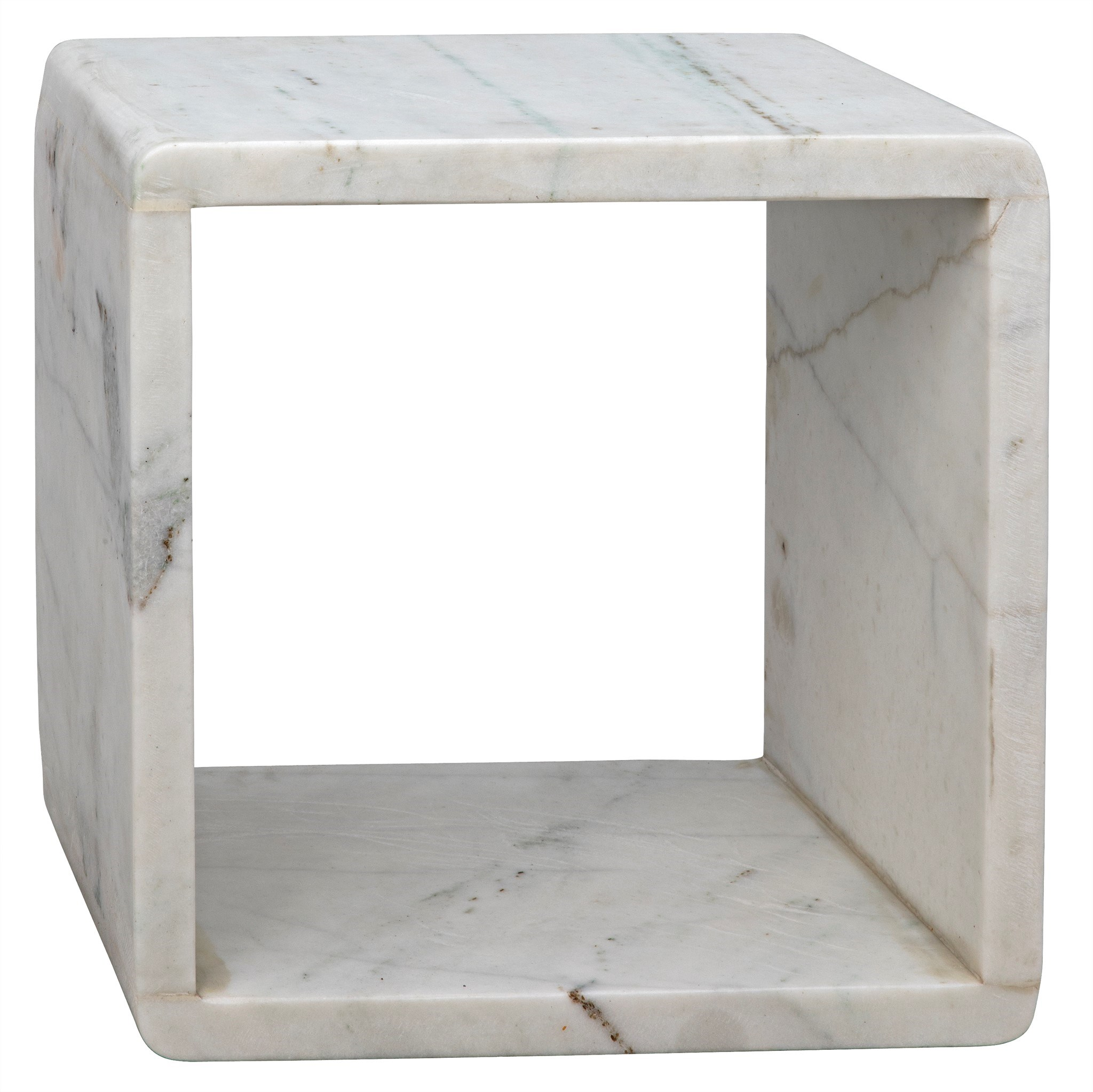 Foundation Side Table Small White Marble