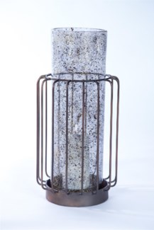Large Cylinder w/ Metal Base in Driftstone Finish