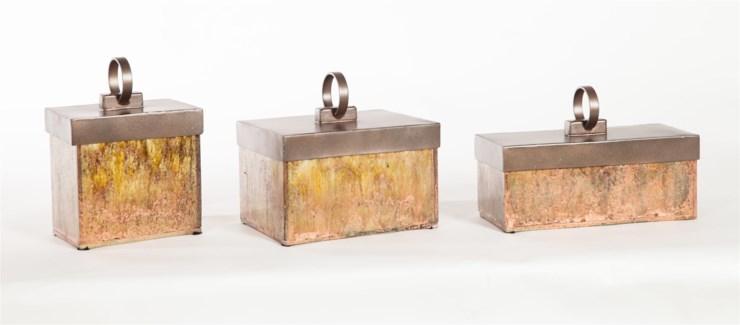 Small Glass Box in Persian Veil w/ Bronze Lid